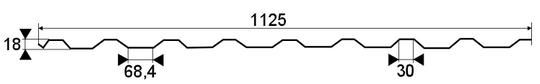 Trapézový profil T-18, TR-18 - rozmery