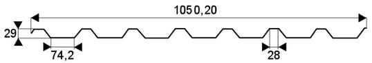 Trapézový profil T-29, TR-29 - rozmery