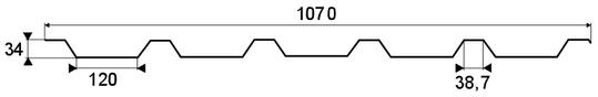 Trapézový profil T-35, TR-35 - rozmery