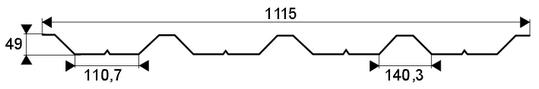 Trapézový profil T-50, TR-50 - rozmery