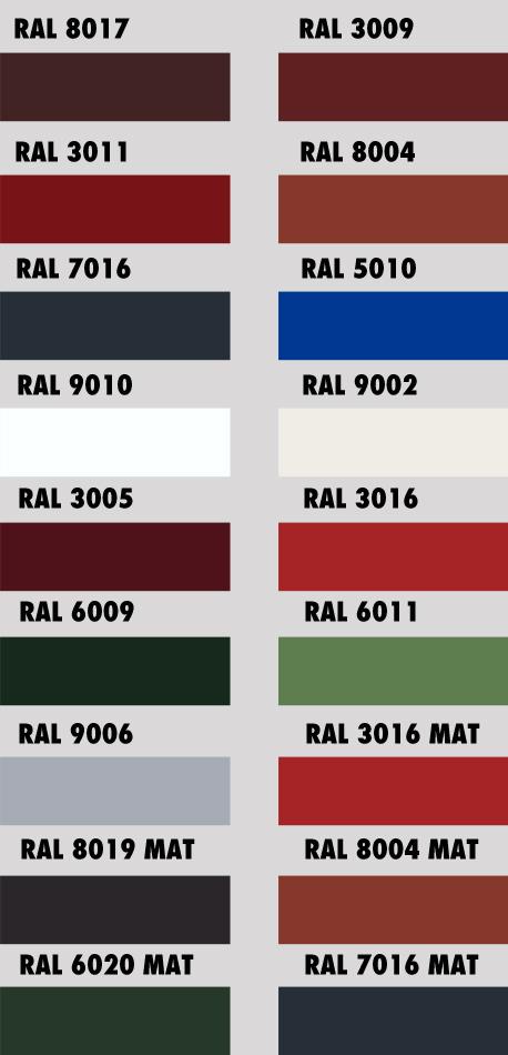 CLIP-roof - farebné odtiene RAL
